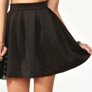 satin feel high waisted skirt